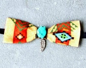 Navajo Print Bow Tie for Dogs & Cats - Rust, Tan, Turq and Black with Turquoise Stone and Pewter Feather, Custom Neck Size