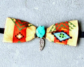 Navajo Print Dog Bow Tie, Pet Bow Tie, Cat Bow Tie, Dog Bow Tie, Smsll Dog Bow Tie, Dog Necktie, Cat Necktie, Made to Order, Dog Accessories
