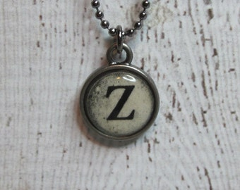 Initial Z Charm Necklace, Vintage Style Typewriter Key Charm, Mini Initial Charm Necklace, Letter Z on Ball Chain