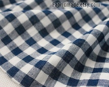 Japanese  Two Layers Gauze Cotton Fabric, Navy Blue Black Red Yellow With White Plaid Fabric Soft - 1/2 Yard
