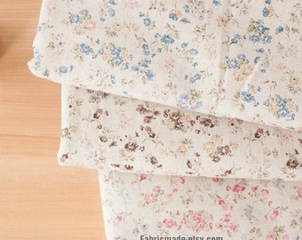 Little Daisy Floral Linen Cotton Blue Pink Brown Tiny Flower on Off White Linen Vintage Style- 1/2 yard