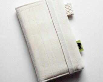 Natural iphone wallet eco friendly wallet vegan iphone wallet Unbleached cotton canvas wallet plain wallet environmentally friendly wallet