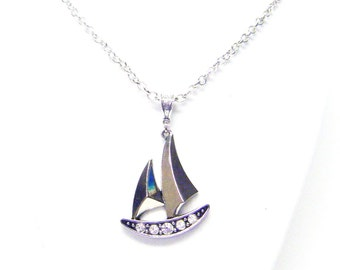 Silver Plated Sail Boat Pendant Necklace