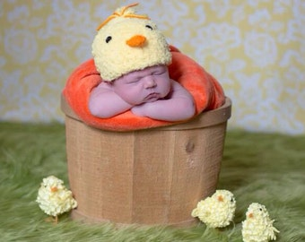 Chick fuzzy yellow Crochet Hat newborn or baby Photo Prop