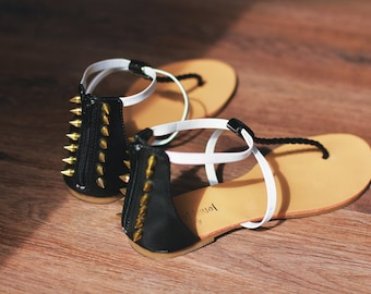 Studded Sandals Spiked SPIKES Black White Beige Thongs Shoes Summer Clothing