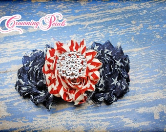 July 4th Headband, Red, Navy Bow, July Fourth Hair Piece, Stars Stripes Hair Accessory, Patriotic Headband, Shabby Flowers, Baby Hairbow