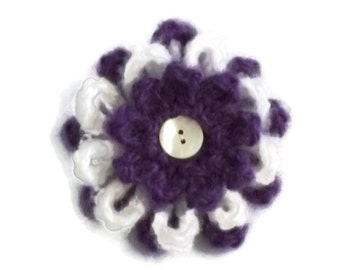 Crochet Flower Brooch, Purple, White