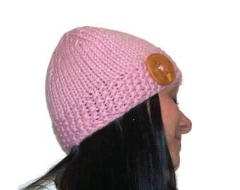Warm Winter Beanie Hat  Light Pink with Handmade Wood Button