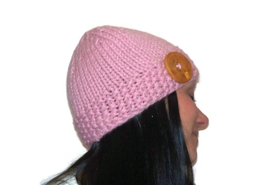 Warm Winter Beanie Hat  Light Pink with Handmade Wood Button