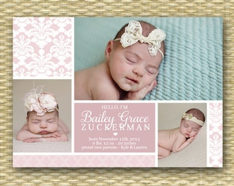 Baby Girl Birth Announcement Baby Girl Announcement Baby Announcement 3 Photo Baby Boy Announcement Rustic Birth Announcement