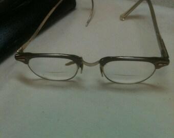 1950s glasses   gold tone
