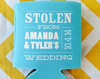 stolen from wedding can coolers hello my name is nametag coolie stolen from wedding favor wedding beverage holder