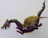dragon art: OOAK, soft sculpture, cloth art, flying dragon
