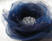 Navy Blue Hair Flower Bridal Hair Flower Navy Blue Head Piece Navy Blue Flower Clips Navy blue Hair Piece Something Blue Bridesmaids Flowers