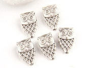Silver Plated Owl Bead Spacers, Owl Beads, 5 pieces- Jewelry Supplies // SBEA-017