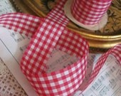 Vintage Pink White Gingham Ribbon 1.5 Inch Wide - 3 Yards Total (#130)