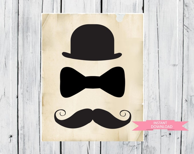 Top Hat - Bow Tie and Moustache 8x10 -   Instant  Download - Nursery Decor