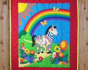Bright & Colorful Zebra Childs Quilt with Rainbow and Happy Flowers
