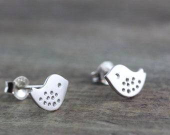 Tiny Bird Earrings, Stud earrings, Sterling silver post and backs . Small bird Earrings, Stud Earrings