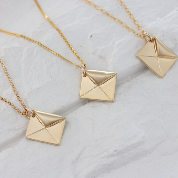gold envelope necklace envelope charm envelope by monyart