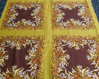 Vintage Fabric, Home Dec, Lily of the Valley, Rich Brown on Olive, Square Pattern