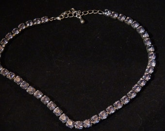 Vintage Lavender Lilac Purple Crystal Rhinestone Choker Necklace Gorgeous