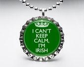 Bottle Cap, Necklace, Pendant, Handmade, Jewelry, Altered Art, Keep Calm, Irish