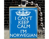 Scrabble, Tile, Necklace, Pendant, Handmade, Jewelry, Altered Art, Keep Calm, Norway, Scandanavian