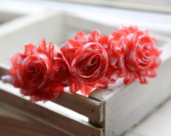 Coral Gingham Shabby Flowers Headband (Coral and White)