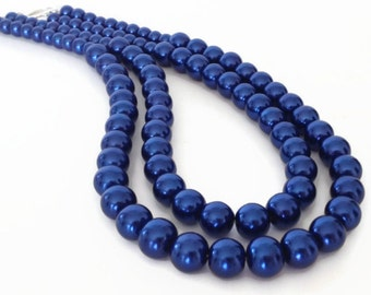 Blue Necklace, Blue Pearl Necklace, Royal Blue Necklace, Faux Pearl Necklace, Chunky Pearl Necklace, Multistrand Pearl Necklace
