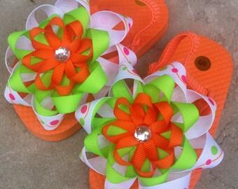 SALE! Orange and Lime Flip Flops- Toddler S (Toddler 7-8)
