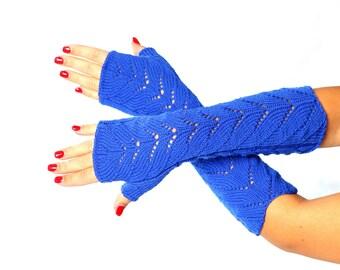 Royal blue Fingerless Long lace Fingerless Lace Fingerless mittens Arm Warmer Gloves Long Fingerless Extra Long fingerless