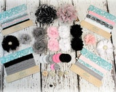 DIY Headband Making Kit - Classic Collection - Pink, Grey, Black, and White - MAKES 10+ HEADBANDS! Shabby Chiffon Flowers - Flower Headbands