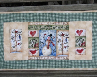 Quilted Table Runner - Table Topper - Winter Welcome Snowman