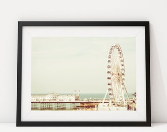 Brighton Pier Beach Photography Print - Ferris Wheel photography