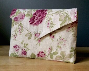"13 inch MacBook PRO case with pocket, macbook sleeve, 13 inch laptop case, floral pattern, eco friendly - ""envelope"""