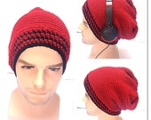 BUY1GET1HalfPRICE,Designer mans/mens/unisex hand crocheted/knitted oversized slouch beanie snood hat,black,red striped gaming hat.