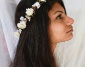 Woodland flower hair wreath (white rose) - Wedding headpiece, headband, vintage inspired rose crown boho bridal