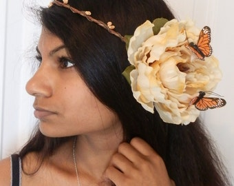 Shea - Large flower floral crown hair wreath hairpiece, festivals parties prom weddings bridal
