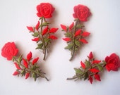 Victorian Rose Embroidered Iron - On Applique, Red / Green, x 4, For Romantic & Victorian Crafts