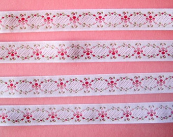 Embroidered Jacquard  Floral Ribbon Trim, Pink, 5/8 inch wide, 1 yard, For Home Decor, Accessories, Apparel, Scrapbook, Mixed Media