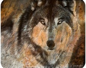 Timber Wolf Rustic Painting Mouse Pad