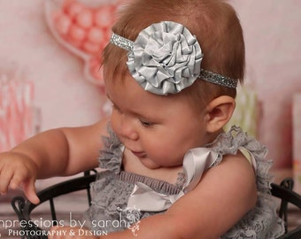 silver headbands..girls silver headband..baby girls silver headband..baby headband..newborn headband..girls headbands..baby girls headband