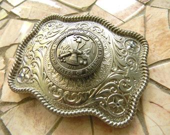 Army Silver Concho Belt Buckle, Western Womens Mens Military Belt Buckle, US Army Wife Girlfriend, Army Boyfriend, Army Belt, Groomsmen Gift