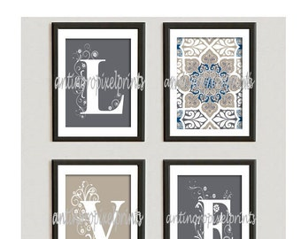 Digital Illustration Love Blue Greys White Digital Wall Art Vintage / Modern Inspired -Set of 4 - 5x7 Prints -  (UNFRAMED)