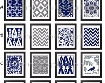 Navy White Damask Wall Art Prints -Pick Any (6) Prints,  - Custom Colors Sizes Available (UNFRAMED) #181941468