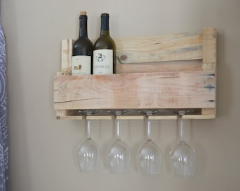 Upcycled Wooden Wine Rack with Glass Holders (stripped pallet wood)