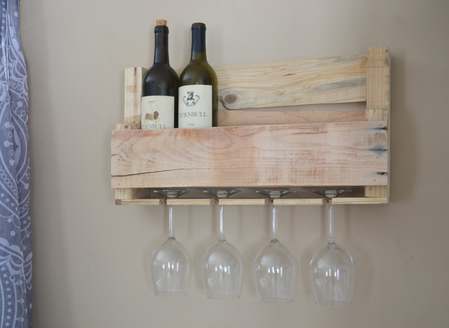 Upcycled Wooden Wine Rack With Glass Holders Stripped Pallet