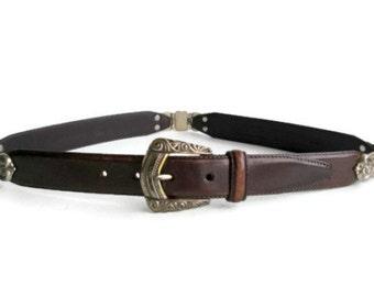 Vintage Brown Leather Fossil Belt,Silver Details, Metal Work Hinges Size Med