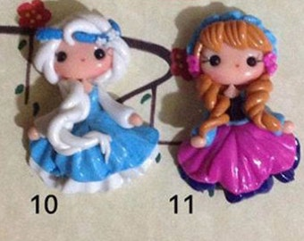 1 piece of New Elsa or Anna Frozen Polymer Clay Charm Bead Scrapbooking Embelishment Bow Center Pendant Cupcake Topper - you pick one